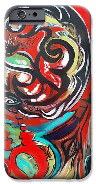 Red Abstract Tapestries - Textiles iPhone Cases - Inside iPhone Case by Agnes BARRAUD