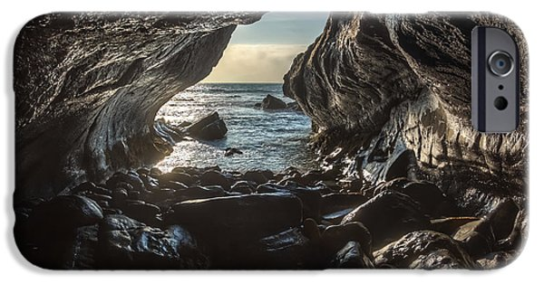 Ocean Sunset iPhone Cases - Inside grotto at the sunset  iPhone Case by Henrique Silva