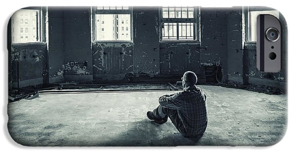 Asylum iPhone Cases - Inside My Darkness iPhone Case by Evelina Kremsdorf