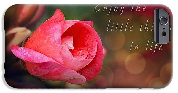 Little Girl iPhone Cases - Inspirational Flower Geranium Print iPhone Case by Gwen Gibson