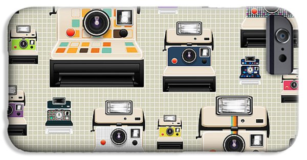Sticker iPhone Cases - Instant Camera Pattern iPhone Case by Setsiri Silapasuwanchai