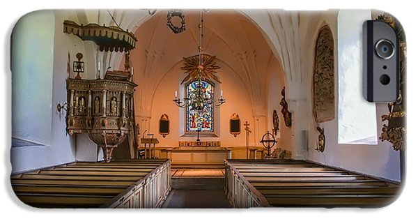 Buildings iPhone Cases - interior of Teda church iPhone Case by Leif Sohlman