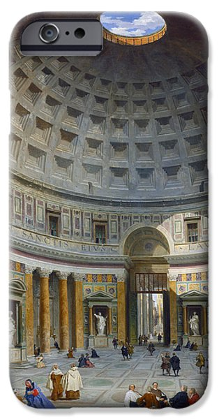 Dome iPhone Cases - Interior of the Pantheon iPhone Case by Giovanni Paolo Panini