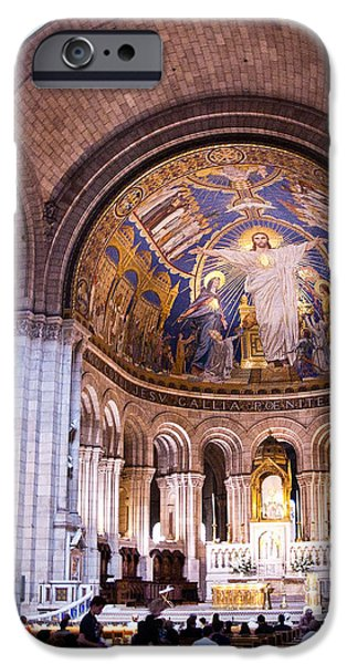 Interior Sacre Coeur Basilica Paris France iPhone Case by Jon Berghoff