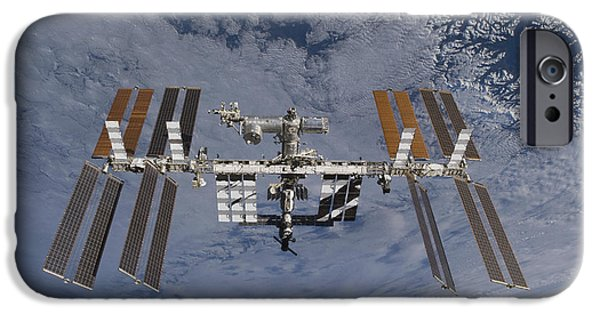 Terra iPhone Cases - International Space Station Set iPhone Case by Stocktrek Images