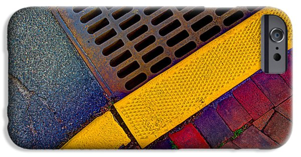 Asphalt iPhone Cases - Intersection Of Shapes And Colors On The Street iPhone Case by Gary Slawsky