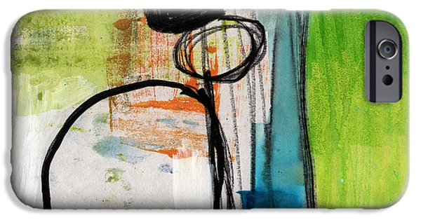 Modern Abstract Mixed Media iPhone Cases - Intersections #34 iPhone Case by Linda Woods