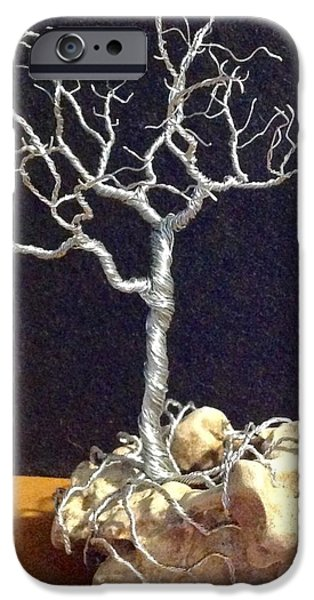 Silver Sculptures iPhone Cases - Intertwined  iPhone Case by Gwendolyn Frazier