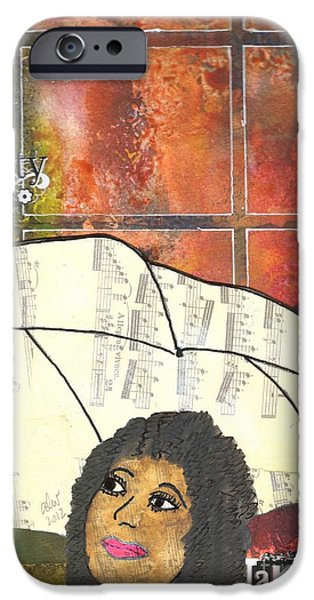 Rainy Day Mixed Media iPhone Cases - Into EVERY Life Some Rain Must Fall... SING Anyway iPhone Case by Angela L Walker