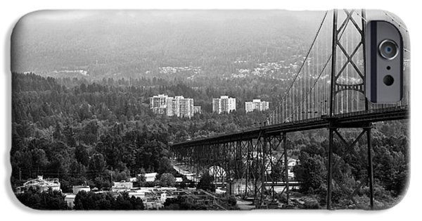 Burrard Inlet iPhone Cases - Into North Vancouver mono iPhone Case by John Rizzuto