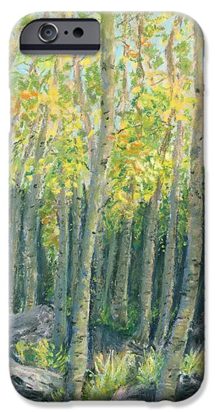 Autumn Landscape Pastels iPhone Cases - Into the Aspens iPhone Case by Mary Benke