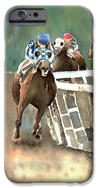Horse Racing iPhone Cases - Into The Stretch And Headed For Home-Secretariat iPhone Case by Arline Wagner