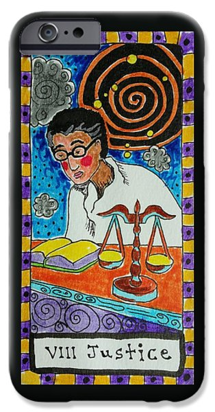Stellar Drawings iPhone Cases - Intuitive Catalyst Card - Justice iPhone Case by Corey Habbas
