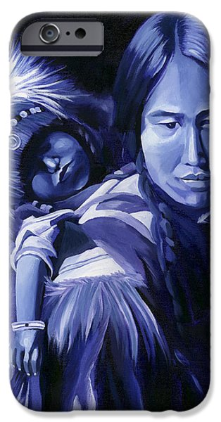 Monotone Paintings iPhone Cases - Inuit Mother and Child iPhone Case by Nancy Griswold