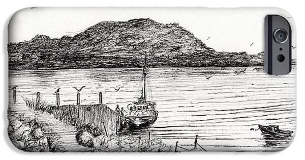 Seagull Drawings iPhone Cases - Iona from Mull iPhone Case by Vincent Alexander Booth