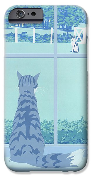 Gray Hair Paintings iPhone Cases - iPhone Galaxy Case -  Cat Staring Out Window - stylized retro pop art nouveau 1980s landscape scene iPhone Case by Walt Curlee