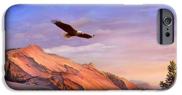 American Eagle Paintings iPhone Cases - iPhone - Galaxy Case - Flying American Bald Eagle Mountain Landscape Painting - American West iPhone Case by Walt Curlee