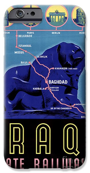 Baghdad iPhone Cases - Iraq Vintage Travel Poster Restored iPhone Case by Carsten Reisinger
