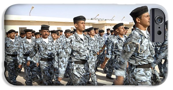 Iraq iPhone Cases - Iraqi Police Cadets Being Trained iPhone Case by Andrew Chittock