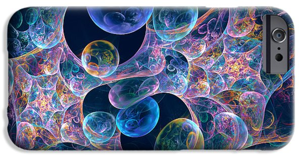 Abstract Digital iPhone Cases - Iridescent Bubbles iPhone Case by Peggi Wolfe