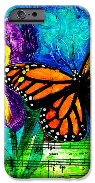 Flight iPhone Cases - Iris and Monarch iPhone Case by Genevieve Esson