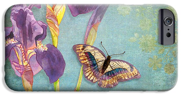 Floral Mixed Media iPhone Cases - Iris Dreams iPhone Case by Audrey Jeanne Roberts