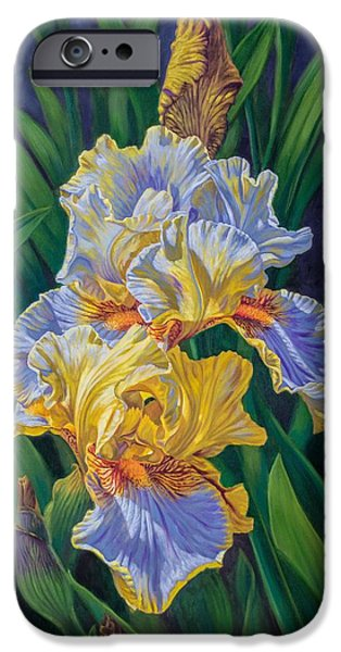 Chicago Paintings iPhone Cases - Iris Garden 3 iPhone Case by Fiona Craig