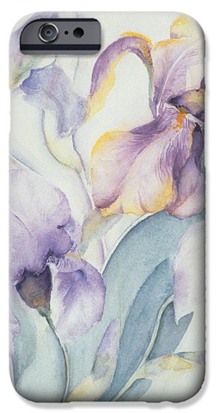Flora Drawings iPhone Cases - Iris iPhone Case by Karen Armitage