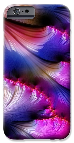 Fractals Fractal Digital Art iPhone Cases - Iris Petals iPhone Case by Amanda Moore