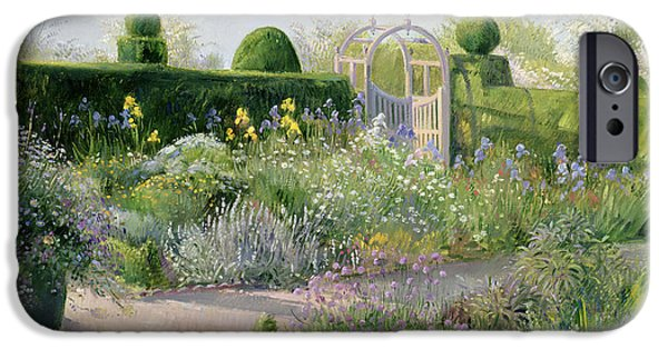 Pathway iPhone Cases - Irises in the Herb Garden iPhone Case by Timothy Easton