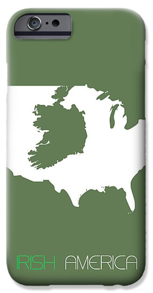 Society iPhone Cases - Irish America Poster iPhone Case by Naxart Studio