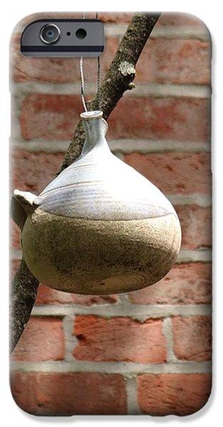 Birds Ceramics iPhone Cases - Iron Gate Hill - Bird House iPhone Case by Diane DiMarco