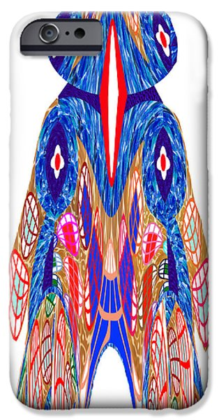 Animation iPhone Cases - Is that a Head or a Hat ??  Alien FineArt Graphic whimsical Rohrshoc Abstract by NavinJoshi iPhone Case by Navin Joshi