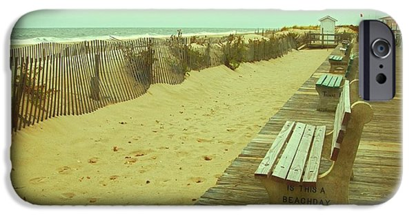 Scenery iPhone Cases - Is This A Beach Day - Jersey Shore iPhone Case by Angie Tirado