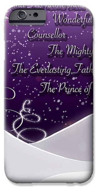 Isaiah Chapter 9 Verse 6 Christmas Card iPhone Case by Lisa Knechtel