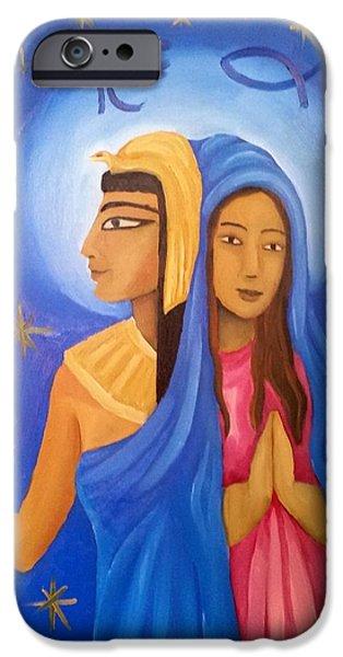 Horus Paintings iPhone Cases - Isis Maria iPhone Case by Martina Santarsiero