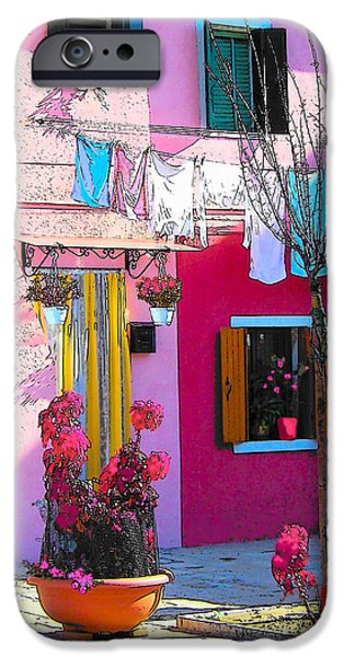 Domestic Scene iPhone Cases - Island of Burano Houses - The washing line iPhone Case by Jan Matson