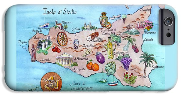 Sicily Paintings iPhone Cases - Island Of Sicily iPhone Case by Kathleen  Gwinnett