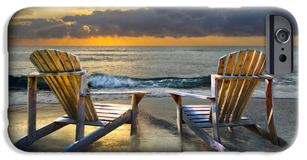 Adirondack Chairs On The Beach iPhone Cases - Island Song iPhone Case by Debra and Dave Vanderlaan