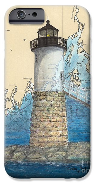 Penobscot Bay Paintings iPhone Cases - Isle Au Haut Lighthouse ME Nautical Map  iPhone Case by Cathy Peek