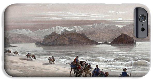 Jordan iPhone Cases - Isle of Graia Gulf of Akabah Arabia Petraea Feby 27th 1839 iPhone Case by Munir Alawi