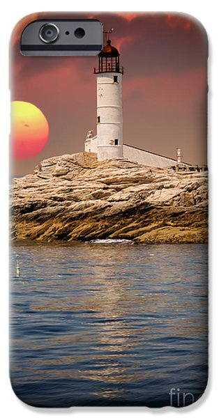 Maine iPhone Cases - Isles of Shoals Lighthouse at sunset iPhone Case by Claudia Mottram