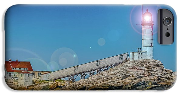 Historic Site iPhone Cases - Isles of shoals lighthouse in the afternoon 2 iPhone Case by Claudia Mottram