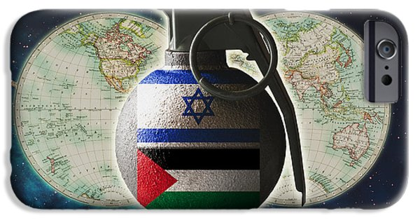Clash Of Worlds iPhone Cases - Israel And Palestine Conflict iPhone Case by George Mattei