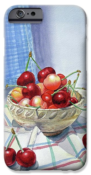 Crops Paintings iPhone Cases - It Is Raining Cherries iPhone Case by Irina Sztukowski