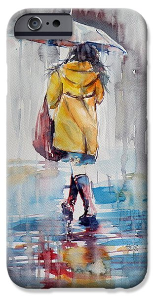 Young Paintings iPhone Cases - It is raining iPhone Case by Kovacs Anna Brigitta