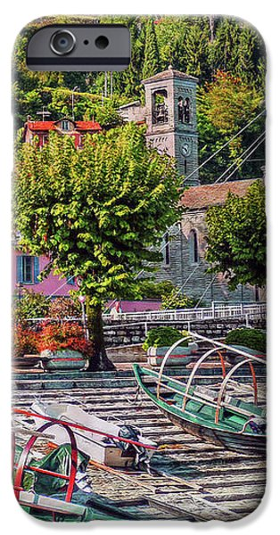 Lago Di Como iPhone Cases - Italian Boat Dock iPhone Case by Hanny Heim