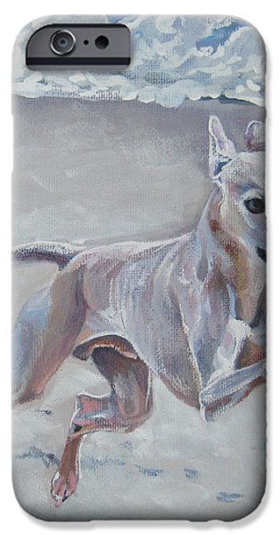 Italian Greyhound on the Beach iPhone Case by Lee Ann Shepard