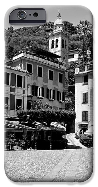 Portofino Cafe iPhone Cases - Italian Riviera iPhone Case by Corinne Rhode
