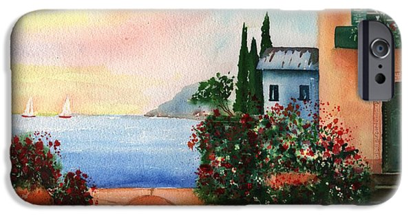 Buildings By The Ocean iPhone Cases - Italian Sunset Villa by the Sea iPhone Case by Sharon Mick